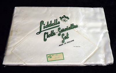 Vintage LIDDELLS IVORY IRISH DAMASK TABLECLOTH & SERVIETTES Unopened 1950s