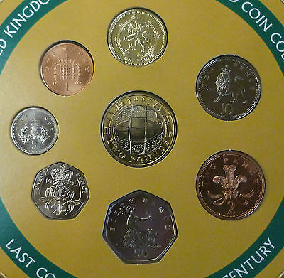 1999 Uncirculated UK Year set BU 8-coin Royal Mint Pack with rare £1 coin