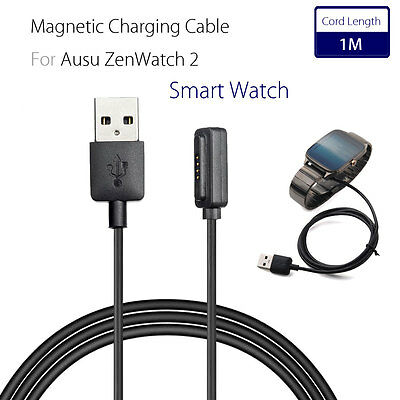 For ASUS ZenWatch 2 Smart Watch USB Magnetic Faster Charging Cable Charger 1M