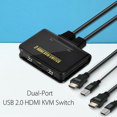2-Port USB 2.0 HDMI KVM Switch Switcher for Dual Monitor Keyboard Mouse + Cable