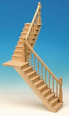Dolls House Angled Staircase & Landing Kit Wooden 1:12 Scale Miniature Stairs