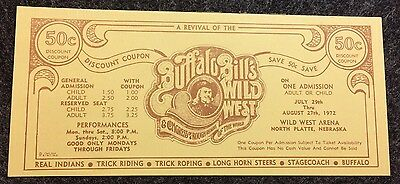 Vintage Buffalo Bill's Wild West Show 1972 Coupon Advertising Note Choice CU