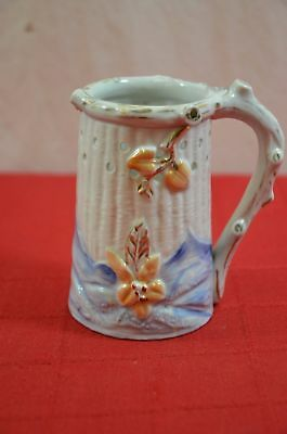 Antique Ceramic Hand Painted Puzzle Drinking Mug Cup Jug Floral Mountain #900