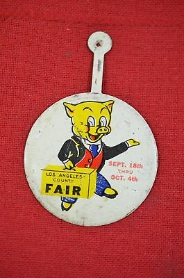 Los Angeles County Fair Pig Button Metal Tin Fold Advertising California #1286
