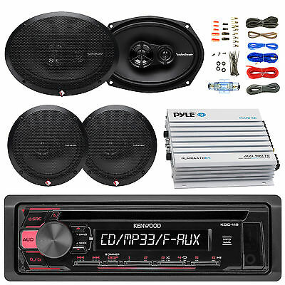 "KDC118 CD Kenwood Radio, 6x9""and 6.5""Full Range Speakers, Bluetooth Amp and Kit"