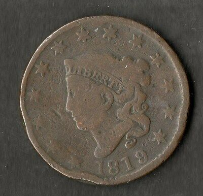 USA Large Size Copper One Cent 1819 NF 9 over 8