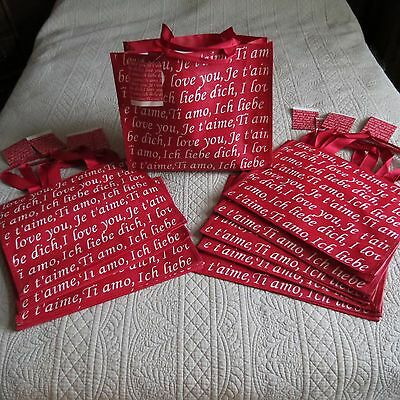 """Lot-10 """"I LOVE YOU"""" Reusable SHOPPING TOTE GIFT BAGS Valentine! Red >>NEW<<12x15"""