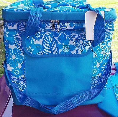 FLORAL PRINT TOTE & COOLER BAGS ~ Matching Set of 2, Brand New, Shopping, Picnic