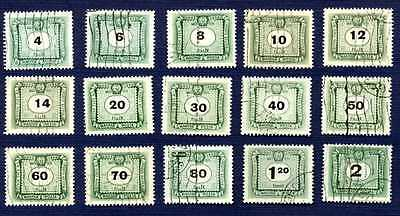 Hungary 1953-SC#J210/J227-POSTAGE DUE STAMPS-SET of 15-USED