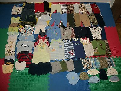 HUGE Lot of 81 Baby Boy Clothes Outfit Bibs Shorts Pant Shirt Jeans 0-3 m month