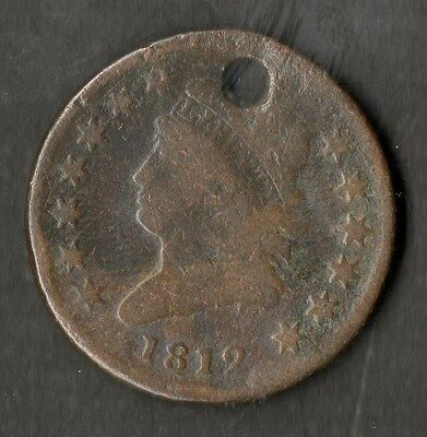 USA Large Size Copper One Cent 1812 VG Holed With Small Date