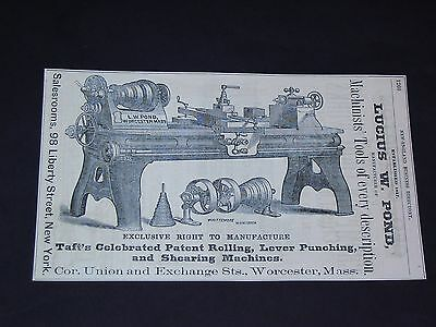 Vtg 1871 Lucius W. Pond Worcester Ma. MACHINISTS TOOLS Original Print Ad