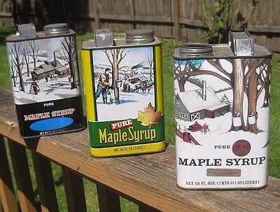 LOT 3 Vintage Ohio Wisconsin Pure Maple Syrup 64 oz. Maple Syrup Tin Metal Cans