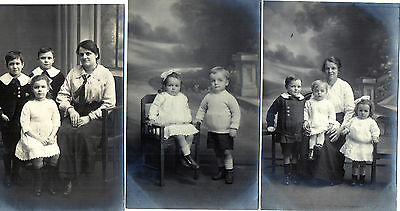 Lot Of 3 Antique Original Postcards - 'Family', (RP)