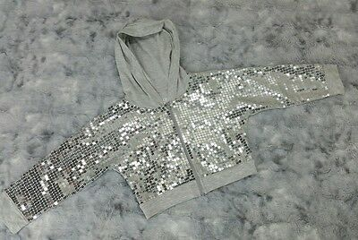 Justice Girls Size 8 Silver Sequin Gray Cropped T-Shirt Hoodie Jacket NWT