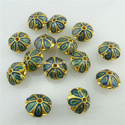 18534 2pcs Golden Cloisonne Enamel Flower 12mm Spacer Beads for Bracelet