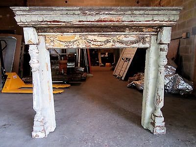 ~ Antique Carved Oak Fireplace Mantel ~ 42 Inch Firebox  ~ Architectural Salvage