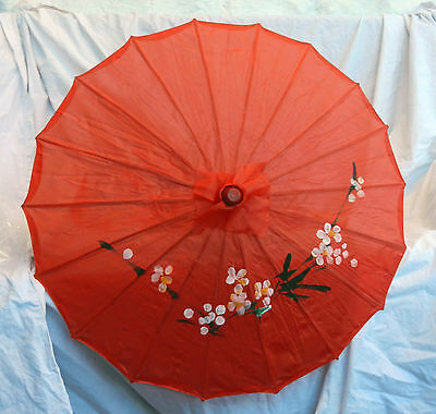 Large Chinese Bamboo and Silk Fabric Hand Painted Parasol - Assorted Colours