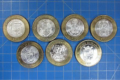 Mexico 100 Pesos Silver Bi-Metal Coins - Lot Of Seven 2003-2005 - All Look Unc
