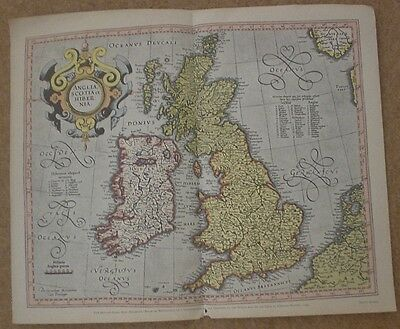 "The British Isles antique map from Mercator's  18"" x 15"""