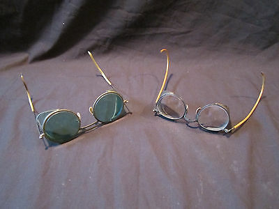 Vintage Antique Green Lens Glasses and Clear Lens Glasses Steampunk