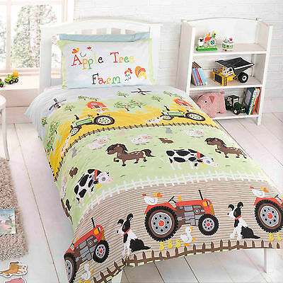 Children's Animal Farm Duvet Cover - Single Size Bedding Set with Pillow Case