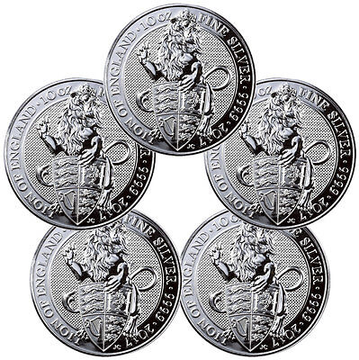 Lot of 5 2017 Great Britain 10 oz Silver Queen's Beasts Lion £10 In Cap SKU47252