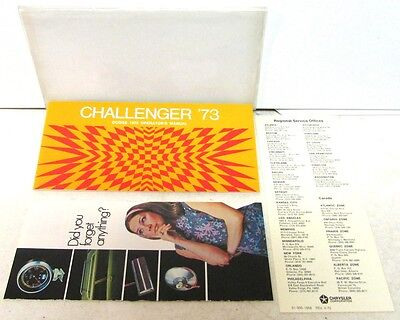 Original NOS 1973 Dodge Challenger Owners Manual W/Sleeve & Extras