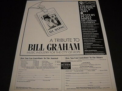 BILL GRAHAM All Access...A TRIBUTE original 1987 PROMO DISPLAY AD mint condition