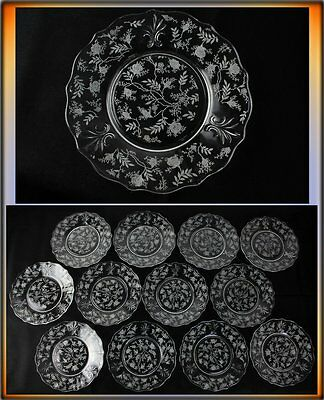 """Set of 12 Fostoria Etched Glass Chintz Baroque Crystal 7.5"""" Salad Plates Val$120"""