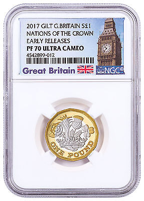 2017 G Britain Nations of the Crown Silver Gilt Proof £1 NGC PF70 UC ER SKU47056