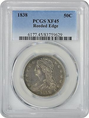 1838 Bust Half EF45 PCGS Reeded Edge Extra Fine 45
