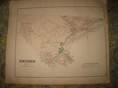 Antique 1873 Snyder Township Tyrone Forge Oliva Pennsylvania Map Blair County Nr