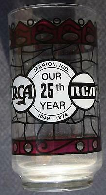 1949-1974 Marion,Indiana RCA 25th Anniversary stained glass look drinking glass!