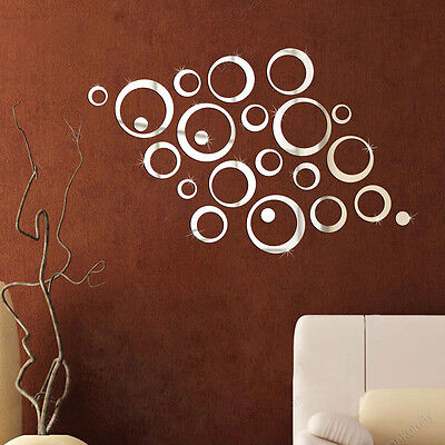 Circles Sticker Mirror Removable Decal Art Design Wall Sticker Home Decor NICE