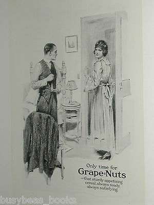 1920 Grape Nuts advertisement, dressing room, maid, businessman