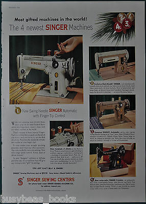 1956 SINGER SEWING MACHINE advertisement, 4 old sewing machines