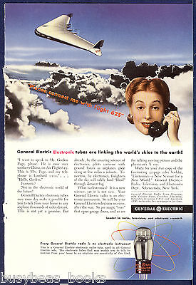 1942 GENERAL ELECTRIC advertisement, Radio Tube, future Telephone to airplane