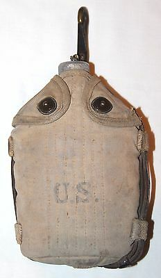 Original Wwi 1918 Dated Mounted Cavalry Canteen W/ Leather Strap & 1918 Canteen