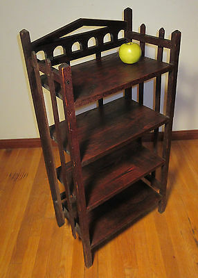 Mission Oak Craftsman Bookcase Arts & Crafts Era c1920 Free Standing 4 Shelves