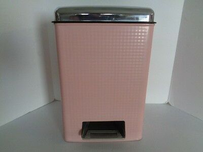 Pepto Pink Metal Chrome Step Garbage Can-Pail- 50's-Wow!