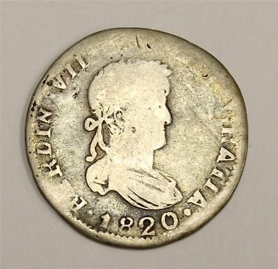1820 Z.AG Mexico 2 Reales Silver coin almost Good AG authentic & original