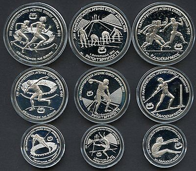 Greece 1981 Summer  Olympics Set Of 9  Silver Proof Coins In Capsules 4.26 Oz