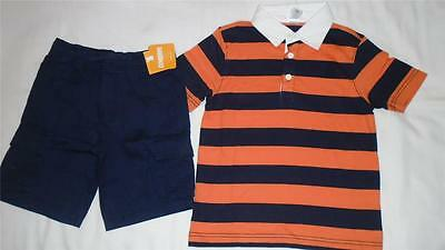 NEW Boys Size 7 Gymboree Outfit Navy Cargo Shorts & Striped Collared Shirt NWT