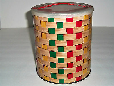 Vintage Folders 3lb Basket Weave Coffee Tin Metal Can & Tote-about Handle Lid