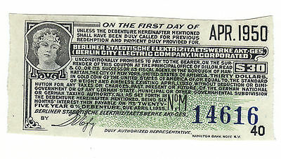 $30 Dollars Gold BERLIN CITY ELECTRIC Bond Coupon Berliner Staedtische German