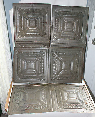 RARE Set Of 4 MATCHING ANTIQUE PRIMITIVE Tin Ceiling TILES ~ VICTORIAN