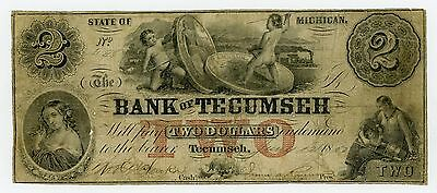 1855 $2 The Bank of Tecumseh, MICHIGAN Note