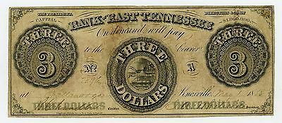 1855 $3 The Bank of East TENNESSEE Note (Chattanooga Branch)