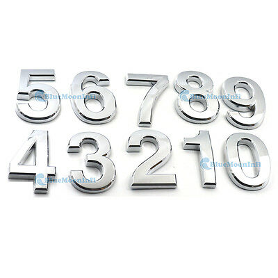 House Numbers 0-9 Mailbox Door Sticker Signs Address Plaque Self-stick Silver GG